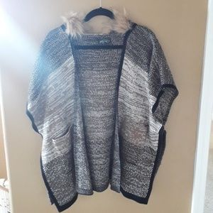 Faux Fur Hooded Pancho